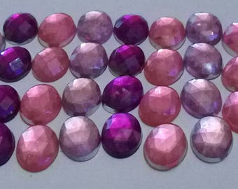 SET of 10 RHINESTONE CABOCHON DECORATION SCRAPBOOKING diamonds 10 x 8 MM