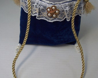 5 x 6 Mini Necklace Purse Royal Blue Velvet Small Party Makeup Dressup Petite Prom Neck Bag Cosmetic Dance Essential Amulet Size Holder Gift