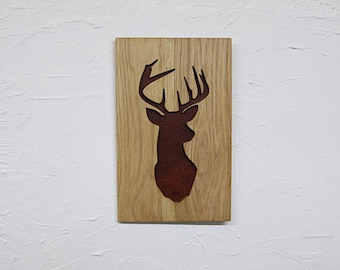 Wooden Recessed Stag Backed with Leather