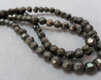 Gemstone Beads, Faceted Pyrite Gemstone Spacer Bead,  Rondelle Bead 4 mm 1/2 strand about 50pcs