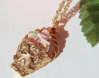 Necklace- Rose Basket- Carved Pink Roses- Vintage- Flower Basket- Pendant