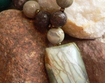 Pendant necklace, gemstone pendant, picasso jasper, silver creek jasper, gemstone necklace, chocolate moss jasper, boho necklace