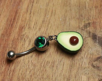 Avocado Navel Ring - bellybutton ring, naval ring, belly piercing, avocado jewelry, fruit belly ring, fruit belly piercing, avocado piercing