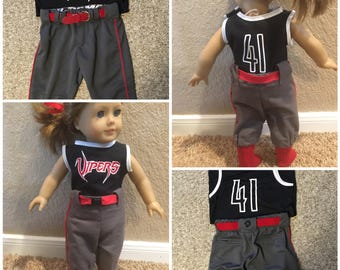 """Custom Softball Uniforms for your 18"""" dolls.  We will sew a uniform to match your favorite softball player's jersey, pants, socks, and belt."""