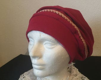 Raspberry Ribbed Knit Cotton Hat /Chemo Hat/Head covering/Sleeping Hat