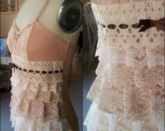 Handmade neutral colors lace layered top with pearls