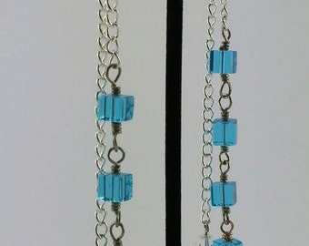 Aqua bead cascading earrings
