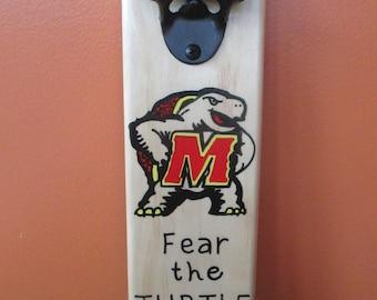Fear The Turtle University of Maryland Wooden Bottle opener with magnetic cap catcher bottle cap catcher opener