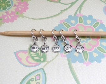 Set of 5 Silver BFF/Best Friends Snag Free Stitch Markers for Knitting, Knitting Marker, Progress Marker, WIP Markers, Fits 8 mm or US 11