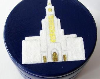 Hand Painted Love Boxes Navy Bountiful Temple Box Wood