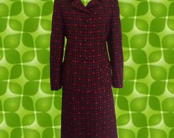 Vintage 1960's Plaid Skirt Suit • Henry White of Dublin • 100% Pure New Wool • Amazing Details and Truly Dazzling Color