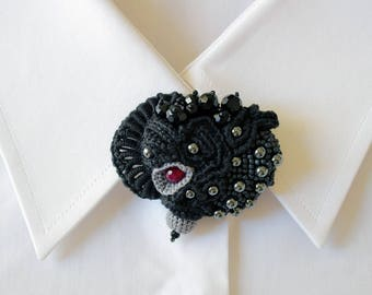 Crochet beaded brooch with red Agate, black crystals, Hematite and seed beads. Unique handmade jewelry. Art jewelry. Black/Gray brooch.