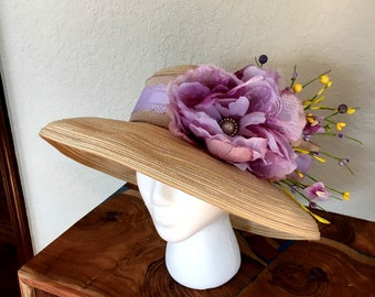 Tan and Light purple hat