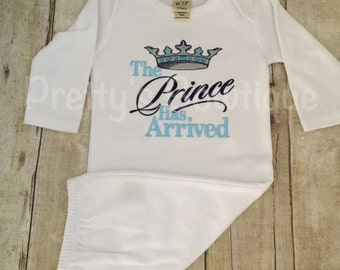 Newborn baby boy coming home outfit The Prince has arrived gown.  Perfect for hospital or coming home outfit