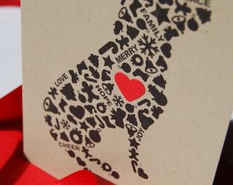 Dog Christmas Card, Holiday Icons Card, Single Card, Set of 4 or 8