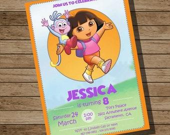 Dora The Explorer Invitation, Dora The Explorer Invite, Dora Invitation, Dora Invite
