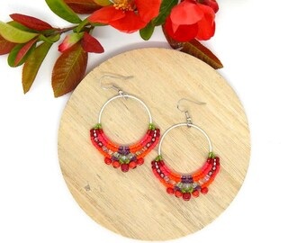 Red orange white hoop earrings, micromacrame, boho silver plated beads
