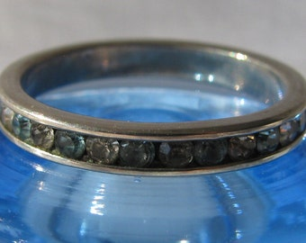 Attractive Alternating Channel Set Baby Blue and Clear Rhinestone Sterling Silver Thin Band Stackable Ring, Size 7