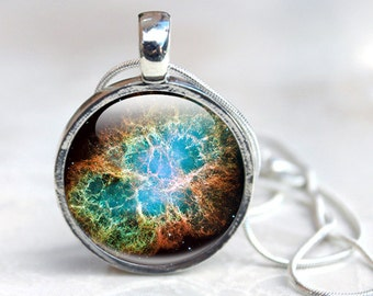 Space Necklace - Outer Space Jewelry, Galaxy Stars Planets  Glass Pendant - Necklace Photo Pendant, space Jewellery