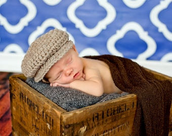 Newborn Baby Boy Hat Irish Donegal Cap Tan Newborn Baby Hat Donegal Hat Newborn Photography Prop Dapper Brown Baby Hat Baby Newsboy Hat