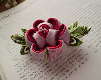 Lavender Red Large Peony Batik Tsumami Kanzashi Adapted French Barette Hair Fascinator for Garden Party Flower Girl