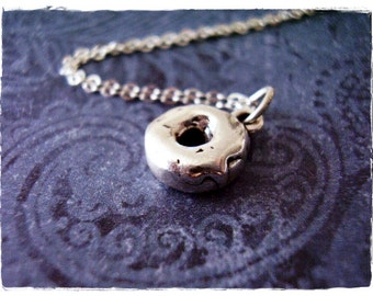 Silver Donut Necklace - Sterling Silver Donut Charm on a Delicate Sterling Silver Cable Chain or Charm Only