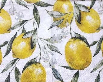 Napkins for decoupage Decoupage napkins Decoupage paper Collage paper Lemon napkins light green