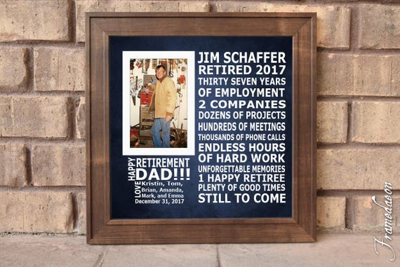Retirement Custom Picture Frame Personalized Frame Wooden