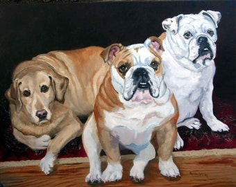 Custom Dog Portrait Oil Painting, Pet Portrait, Full of Personality, Original Oil on Canvas Animal Art