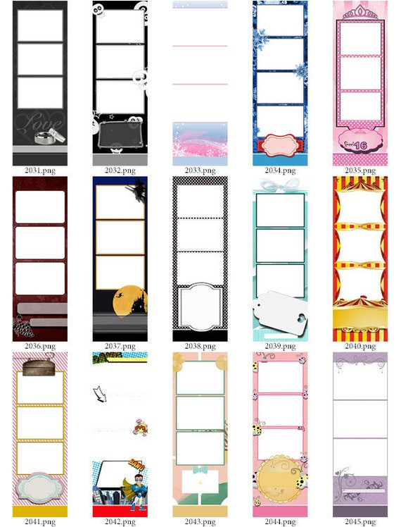 30 Photo Strip Templates for Photo Booths 2031-2060