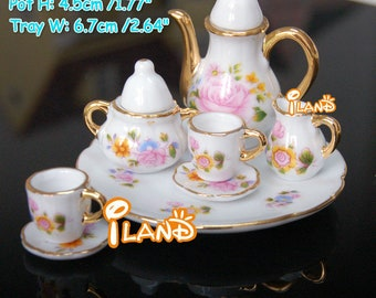 1/6 Dollhouse Miniatures Tea Coffee Set Pot Cup Doll House Porcelain Set