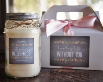 Will You Be My Bridesmaid Gift Candle//Maid of Honor Gift//Personalized Soy Candle//Large Pint//Personalized Bridesmaid Gift//