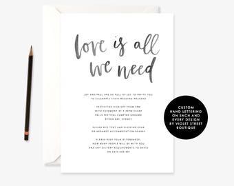 Printable Minimalist Wedding Invitation, Love is All We Need Wedding Invitation, Love is All We Need Invite, Simple Wedding Invitation, PDF