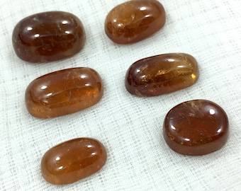6 Pieces Hessonite Garnet Cabs@VJT