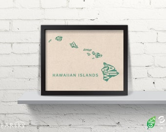Far Sky Hawaiian Islands Typographic Map