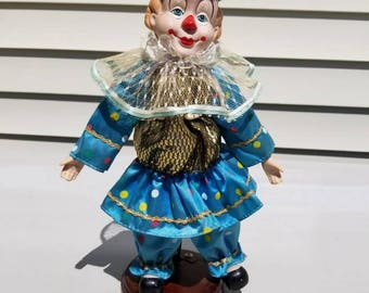 Vintage Clown Doll Blue and Gold