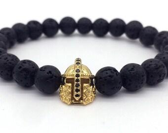 Antique Gold Color Roman Knight Spartan Warrior Gladiator Helmet Bracelet Men Black Matte Lava Stone Bead Bracelets For Men Jewelry