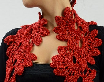 Scarf warmer neck red petals elegant gift Valentine's Day wife girlfriend mom friend for cool summer evenings