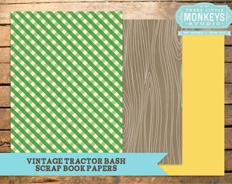Vintage Tractor Bash Collection Matching Papers - INSTANT DOWNLOAD