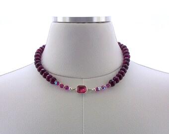 Agate Necklace Gemstone Beaded Swarovski Crystal Silver Choker Jewelry Jewellery Pink Fuchsia Deep Pink Fashion Necklace Colorful