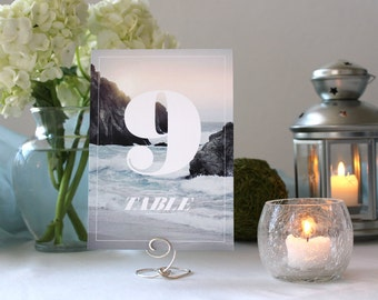 Photograph Beautiful Sunset Beach Table Number Nature Romantic  Wedding Table Marker