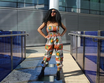 African Jumpsuit Kente Jumpsuit African Romper African Playsuit Ankara Clothing African Clothing Festival Jumpsuit African All in One