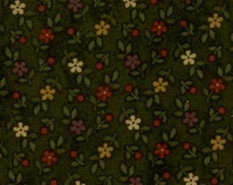 moda fabric by 1/2 yard Kansas Troubles Quilters FAVORITES-small flowers on dark green  9054-19