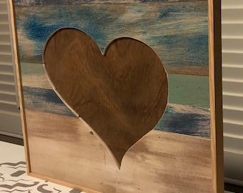Wooden inverted stitch heart