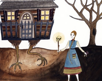 At Baba Yaga's House Original Watercolor Illustration