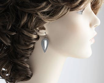 Silver Drop Earrings, Antiqued Silver Plated Embossed Teardrop Earrings, Boho Chic Jewelry
