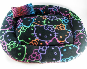 Medium, Hello Kitty, Cat bed, Washable pet bed, Dog bed, oval pet bed, Puppy bedding, Kitten bed, Kennel bedding, Plush Fleece pet bed