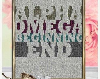 ALPHA, OMEGA, Beginning, End, God, Lord, God Inspired, Family, Religious Gift, Bible Art, Christian Wall Art, Digital Art, Jesus, Faith,