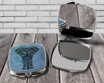 Elephant mirror, Compact mirror, Elephant print, Pocket mirror, Gift for her, Birthday gift, Elephant art