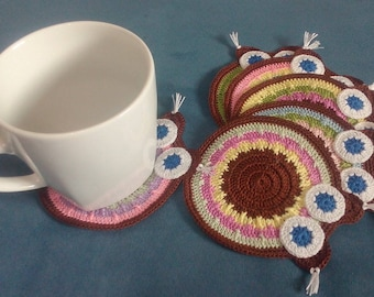 Set of 6 coasters crochet coaster, doily, home decoration, gift for Mom, gift for Women, Doily, blue-eyed Owl